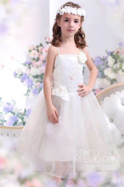 Pretty A Line Spaghetti Strap Ankle Length Organza Ivory Flower Girl Dress CKZI13004
