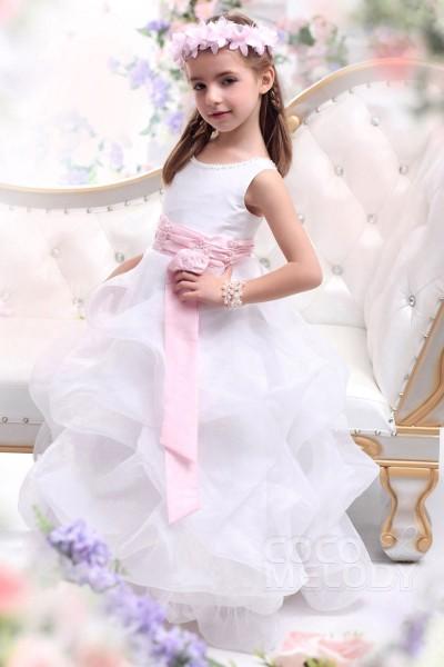 Pretty A-Line Tank Top Floor Length Organza White Flower Girl Dress CKZF13001