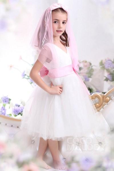 Lovely A Line V Neck Tea Length Tulle White Flower Girl Dress CKZK13001