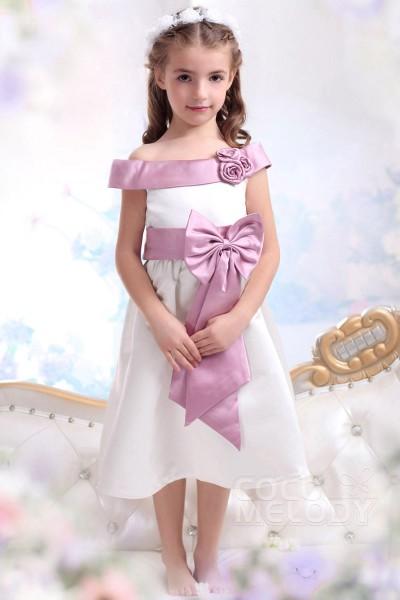 Cute A Line Off The Shoulder Tea Length Satin Ivory Girls Formal Dress CKZI1300E