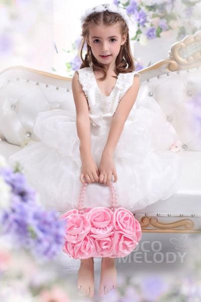 Cute A Line Tank Top Tea Length Organza Ivory Flower Girl Dress CKZI13005