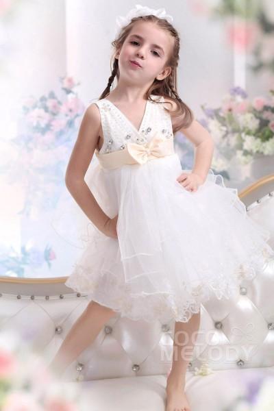 Cute A-Line V-Neck Knee Length Tulle Ivory Flower Girl Dress CKZK13002