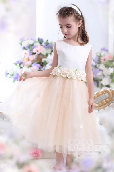 Cute A-Line Tank Top Ankle Length Tulle Champagne Flower Girl Dress CKZI13006