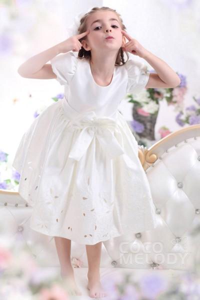 Lovely A Line Bateau Tea Length Satin Ivory Flower Girl Dress CKZI13007