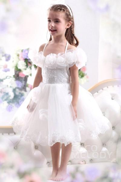 Pretty A Line Halter Tea Length Tulle Ivory Flower Girl Dress CKZK13003