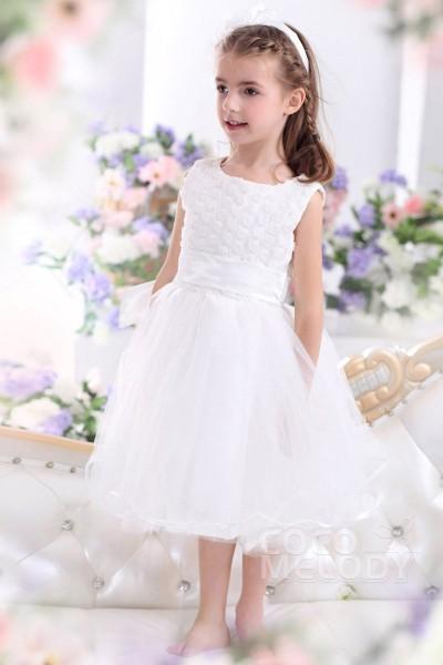 Lovely A Line Tank Top Tea Length Tulle White Flower Girl Dress CKZI13008