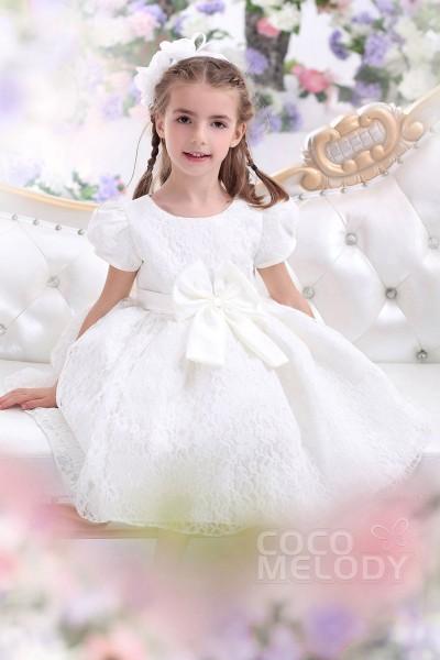 Cute A-Line Bateau Tea Length Lace White Girls Church Dress CKZI1300B