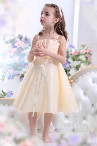 Pretty A-Line Spaghetti Strap Tea Length Taffeta Champagne Girls Holiday Dress CKZI1300F