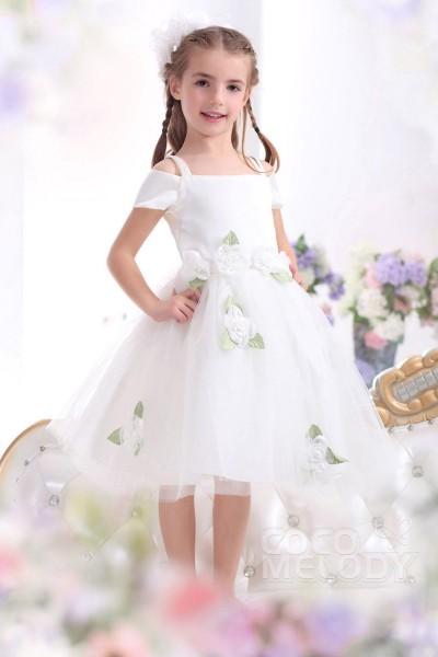 New Arrival A Line Straps Tea Length Tulle Ivory Flower Girl Dress CKZI13009