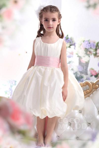 Pretty Ball Gown Tank Top Tea Length Taffeta Ivory Flower Girl Dress CKZK13004