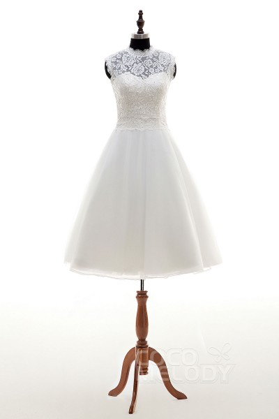 Latest A-Line Illusion Natural Knee Length Tulle Ivory Sleeveless Zipper With Buttons Wedding Dress h2mr0125