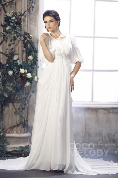 Stylish Sheath-Column V-Neck Empire Half Sleeve Court Train Chiffon Wedding Dress CWZT1302B