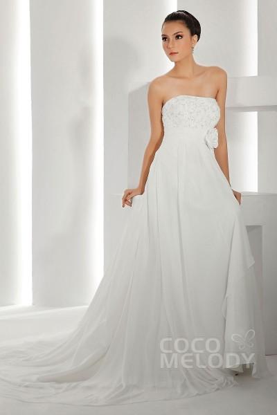 Trendy Sheath-Column Strapless Empire Waist Chapel Train Chiffon Wedding Dress CWXT13019