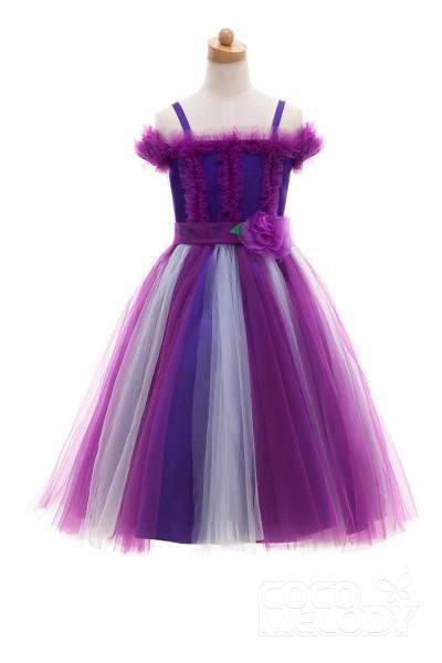 Lovely A-Line Off The Shoulder Natural Ankle Length Tulle Multicolor Sleeveless Zipper Flower Girl Dress HT0820