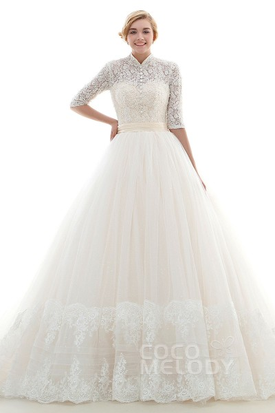 Modern A-Line High Neck Natural Chapel Train Tulle Ivory/Champagne Half Sleeve Lace Up-Corset Wedding Dress JWLT16004
