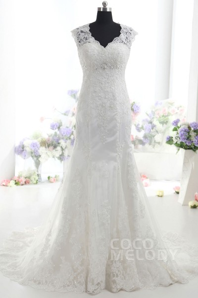 Glorious Trumpet-Mermaid V-Neck Natural Train Lace Ivory Sleeveless Open Back Wedding Dress with Beading and Appliques CWAT14002