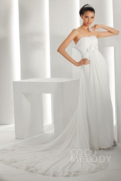 Vintage Sheath-Column Sweetheart Court Train Chiffon Wedding Dress CWXT1300B