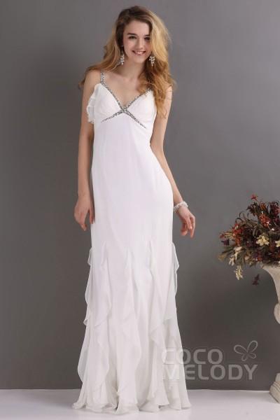 Fantastic Sheath-Column Spaghetti Strap Floor Length Ruffles Chiffon Wedding Dress CWVT09001