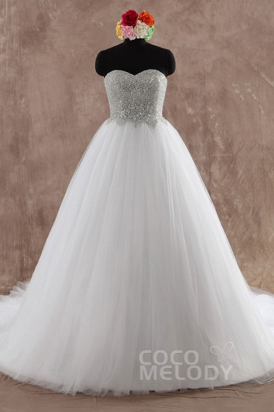 Classic Princess Sweetheart Natural Train Tulle Sleeveless Lace Up-Corset Wedding Dress with Sequin LD2346