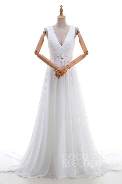 Pretty Sheath-Column V-neck Natural Court Train Chiffon Sleeveless Wedding Dress with Beading and Draped LD3521