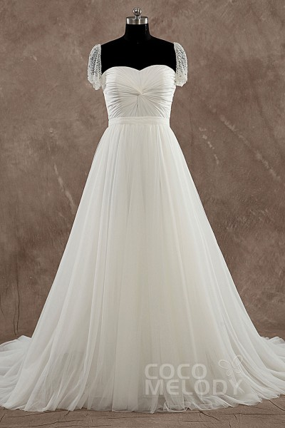 Divine Sheath-Column Sweetheart Natural Floor Length Chiffon Ivory Cap Sleeves Wedding Dress with Removable Train LD3527