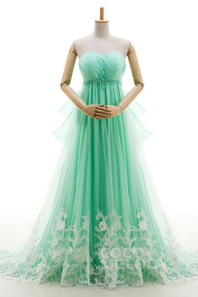 Eye-Catching A-Line Sweetheart Natural Court Train Tulle Cascade Sleeveless Lace Up-Corset Wedding Dress Beading Pleating LD4027