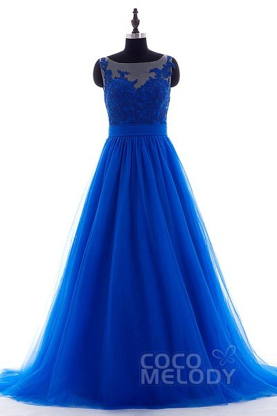 Luxurious A-Line Illusion Court Train Tulle Sodalite Blue Sleeveless Open Back Evening Dress Appliques LOAT1500B