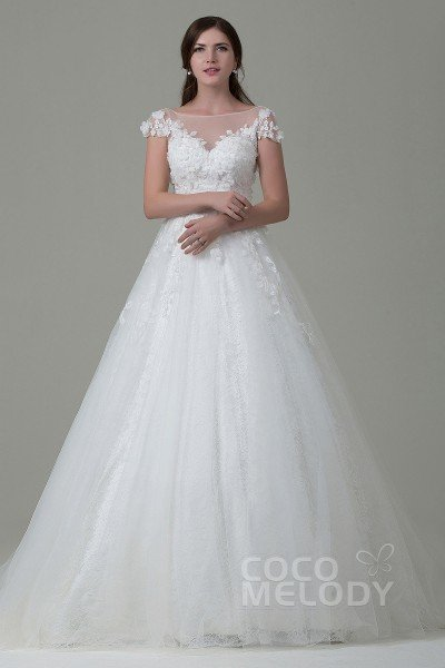 Perfect A-line Illusion Natural Court Train Tulle and Lace Cap Sleeve Open Back Wedding Dress with Appliques Flower and Sashes LWAT14014