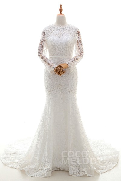 Sexy Trumpet-Mermaid Illusion Train Lace Ivory Long Sleeve Open Back Wedding Dress with Ribbons LWVT1400C