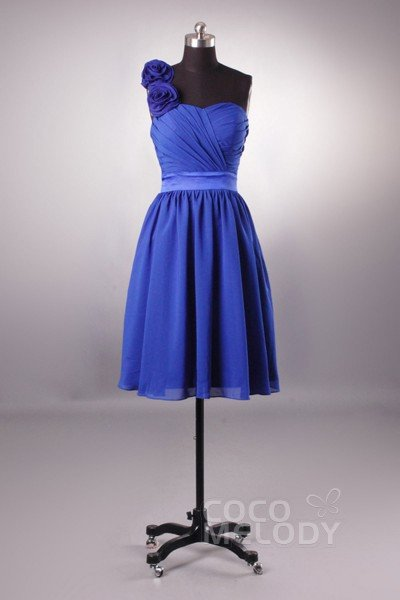 Modern A-Line One Shoulder Natural Knee Length Chiffon Sleeveless Zipper Bridesmaid Dresses NB2853