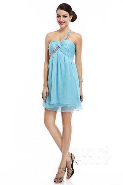 Sheath-Column One Shoulder Empire Short-Mini Chiffon Blue Glow Sleeveless Criss-Cross Cocktail Dresses COKM14001