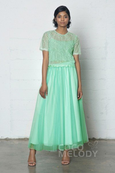 Divine Sheath-Column Jewel Natural Ankle Length Tulle/Lace Short Sleeve Buttons Dress with Pleating PR17002
