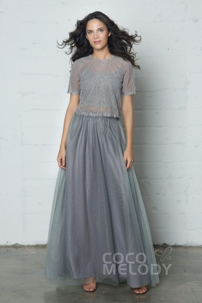 Latest Sheath-Column Jewel Natural Floor Length Tulle/Lace Short Sleeve Buttons Dress with Pleating PR17003