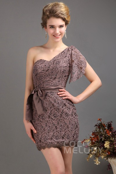 New Arrival Sheath-Column One Shoulder Short Mini Lace Bone Brown Party Dress COLM1300A