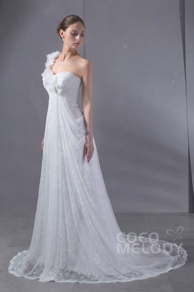 Fashion Sheath-Column One Shoulder Court Train Lace Wedding Dress CWLT13058