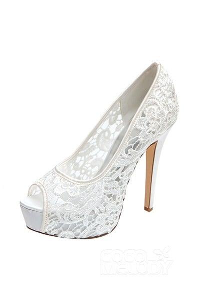 Stiletto Heel 12.7cm Heel 2.8cm Platform Lace Stitching Lace Peep Toe Bridal Shoes SWS16019
