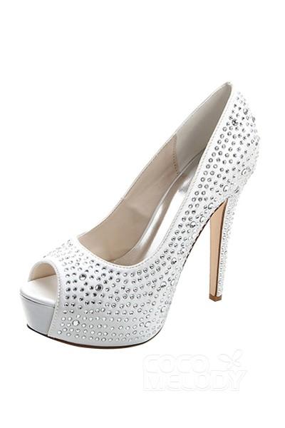 Stiletto Heel 12.7cm Heel 2.8cm Platform Satin Rhinestone Peep Toe Bridal Shoes SWS16022