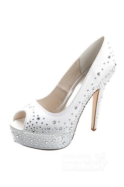 Stiletto Heel 12.7cm Heel 2.8cm Platform Satin Rhinestone Peep Toe Bridal Shoes SWS16023