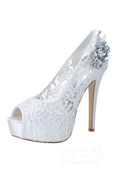 Stiletto Heel 12.7cm Heel 2.8cm Platform Lace Rhinestone Peep Toe Bridal Shoes SWS16024