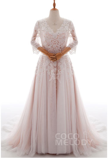 A Line Court Train Tulle And Lace Wedding Dress Ld4493 Plus Size Ld2676